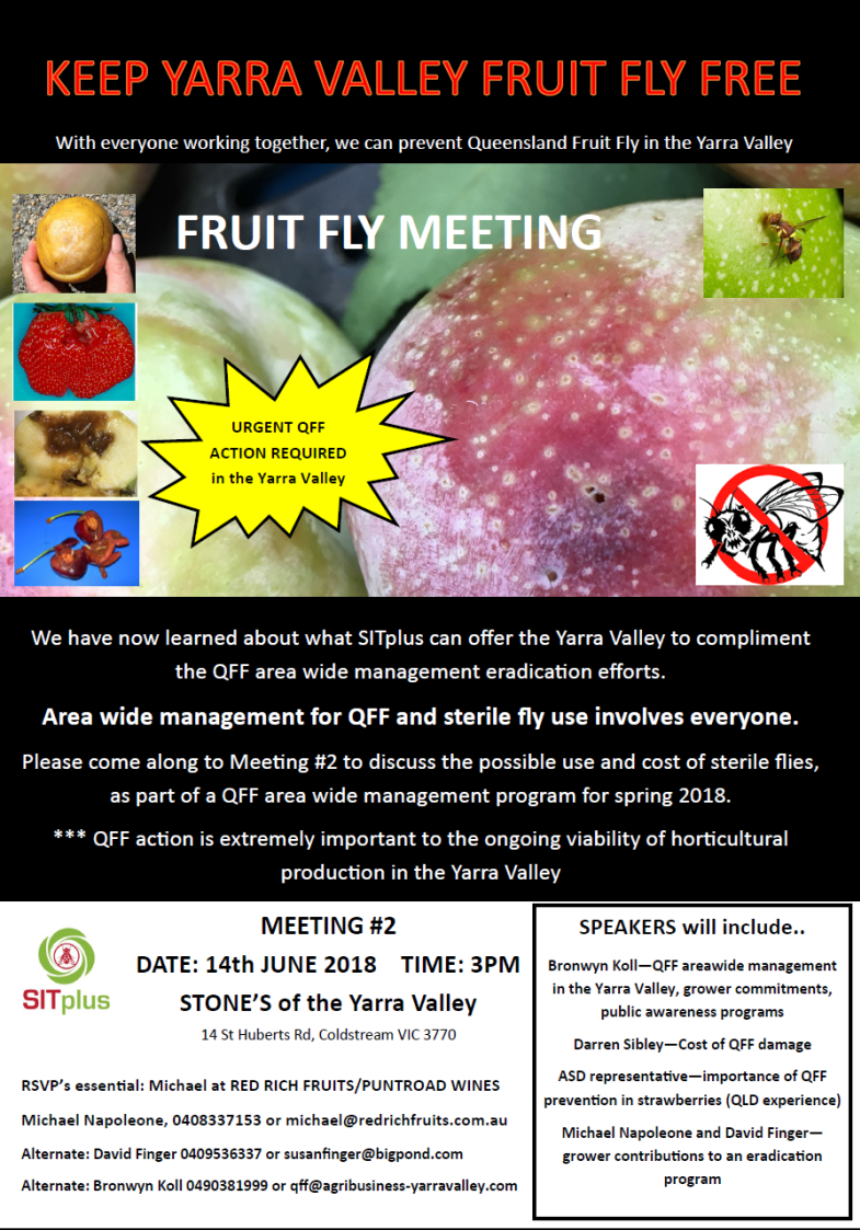 Fruit Fly meeting 2 14th June 2018 at Stones of the Yarra Valley
