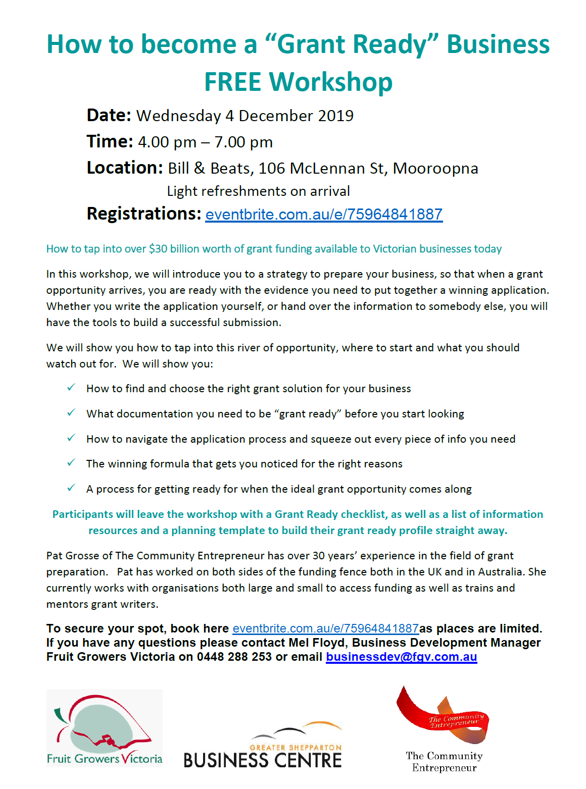 How to become a 'Grant Ready Business'- FREE Workshop- Wednesday 4th December 2019 from 4:00pm-7:00pm