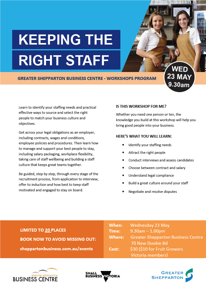 Keeping the right staff workshop flyer