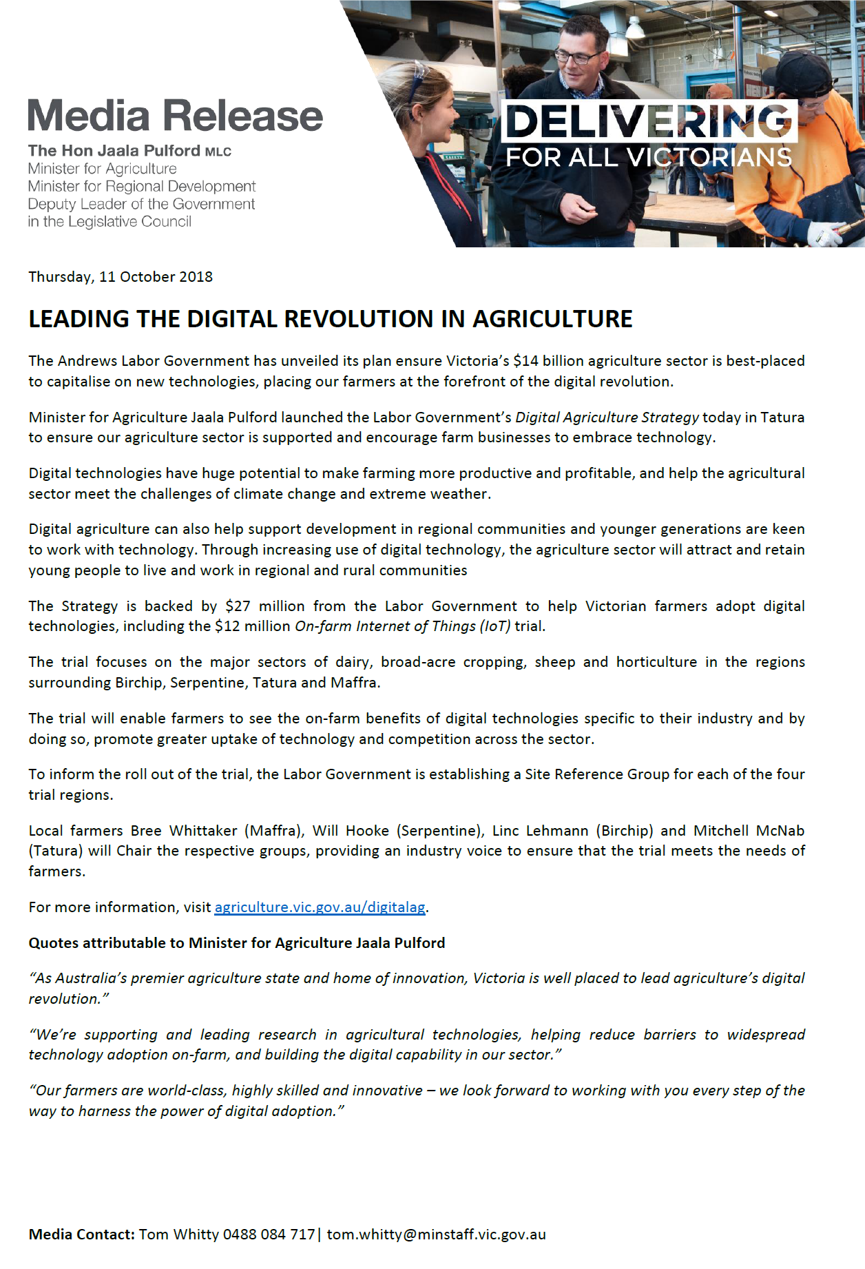 Media Release Leading the digital Revolution in Agriculture