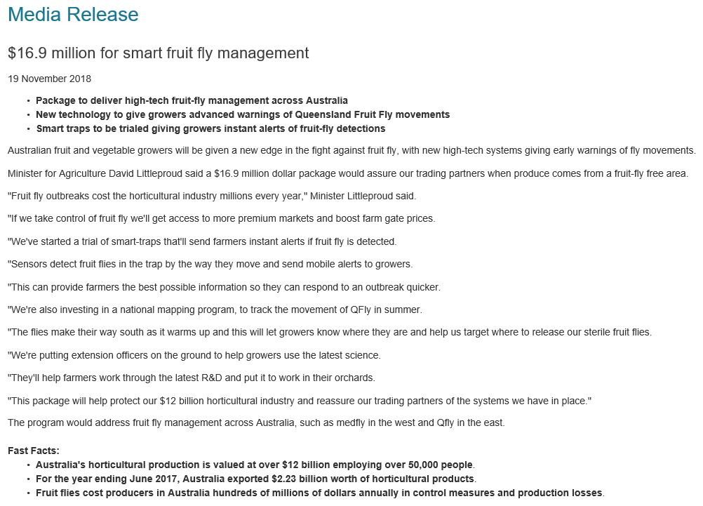 Media Release 19th November 16.9 million for smart fruit fly management