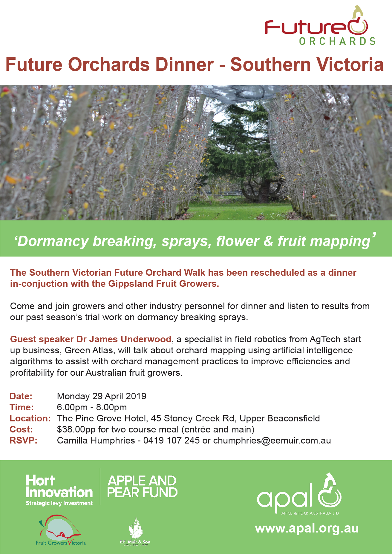 Southern Victoria Future Orchard Dinner April 2019 flyer